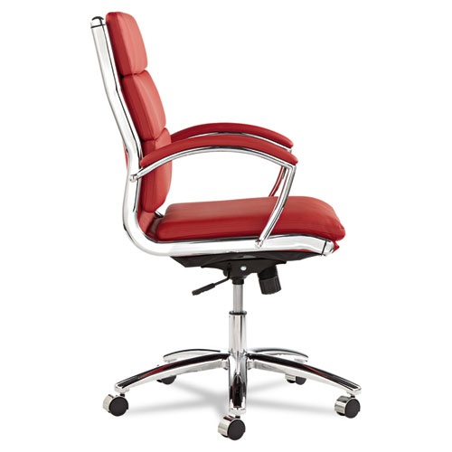 Alera Neratoli Mid-Back Slim Profile Chair, Supports up to 275 lbs, Red Seat/Red Back, Chrome Base. Picture 2