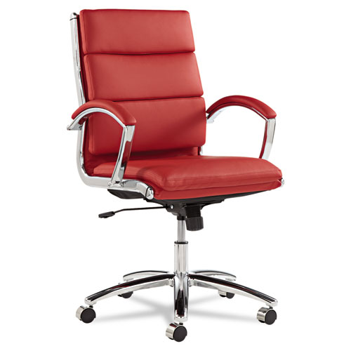 Alera Neratoli Mid-Back Slim Profile Chair, Supports up to 275 lbs, Red Seat/Red Back, Chrome Base. Picture 1