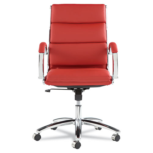 Alera Neratoli Mid-Back Slim Profile Chair, Supports up to 275 lbs, Red Seat/Red Back, Chrome Base. Picture 7