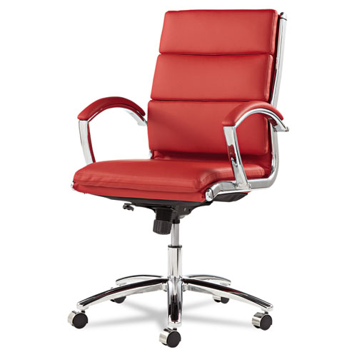 Alera Neratoli Mid-Back Slim Profile Chair, Supports up to 275 lbs, Red Seat/Red Back, Chrome Base. Picture 6