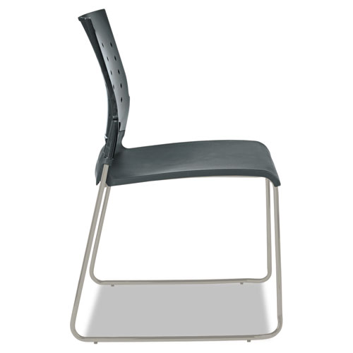 Alera Continental Series Plastic Perforated Back Stack Chair, Charcoal Gray Seat/Back, Gunmetal Gray Base, 4/Carton. Picture 6