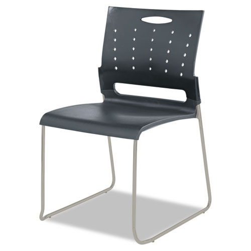 Alera Continental Series Plastic Perforated Back Stack Chair, Charcoal Gray Seat/Back, Gunmetal Gray Base, 4/Carton. Picture 5