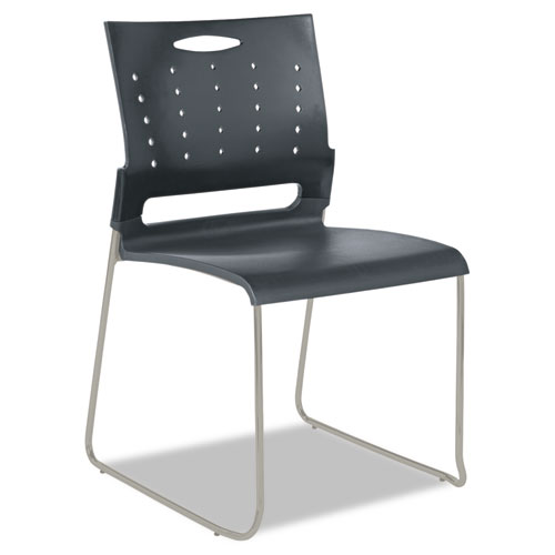 Alera Continental Series Plastic Perforated Back Stack Chair, Charcoal Gray Seat/Back, Gunmetal Gray Base, 4/Carton. Picture 2