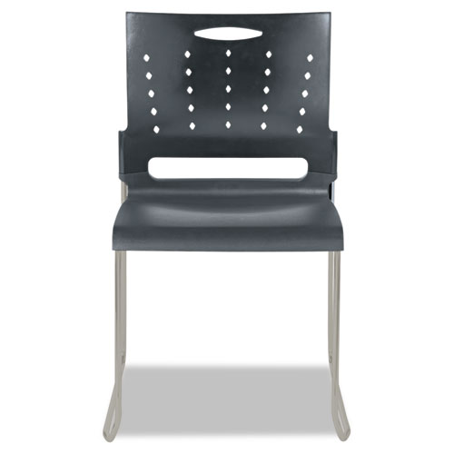 Alera Continental Series Plastic Perforated Back Stack Chair, Charcoal Gray Seat/Back, Gunmetal Gray Base, 4/Carton. Picture 4