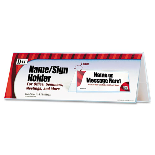 2-Sided Name/Sign Holder, Blank, 11 x 3 1/2 x 4, Clear. Picture 1