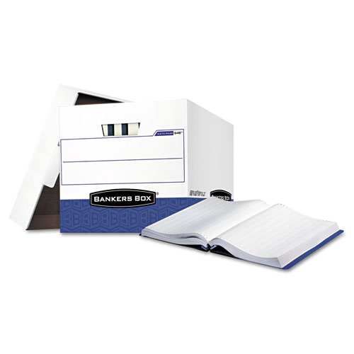 "DATA-PAK Storage Boxes, Letter Files, 13.75"" x 17.75"" x 13"", White/Blue, 12/Carton. The main picture."