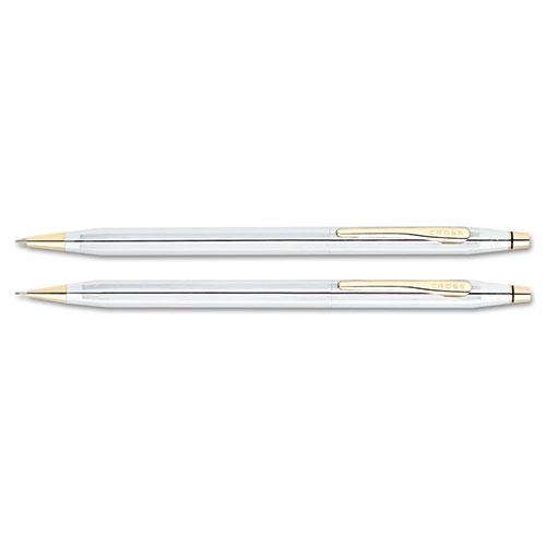 Classic Century Ballpoint Pen & Pencil Set, Chrome/23kt. Gold Plate. Picture 2