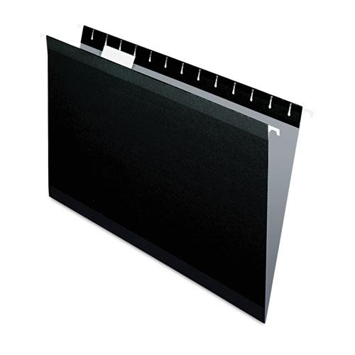 Colored Reinforced Hanging Folders, Legal Size, 1/5-Cut Tab, Black, 25/Box. Picture 1