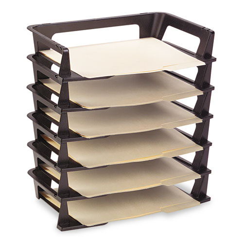 """Regeneration Recycled Plastic Letter Tray, 6 Sections, Letter Size Files, 9.13"""" x 15.25"""" x 2.75"""", Black. Picture 2"""