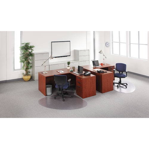"Alera Valencia Series Straight Front Desk Shell, 65"" x 29.5"" x 29.63"", Medium Cherry. Picture 14"