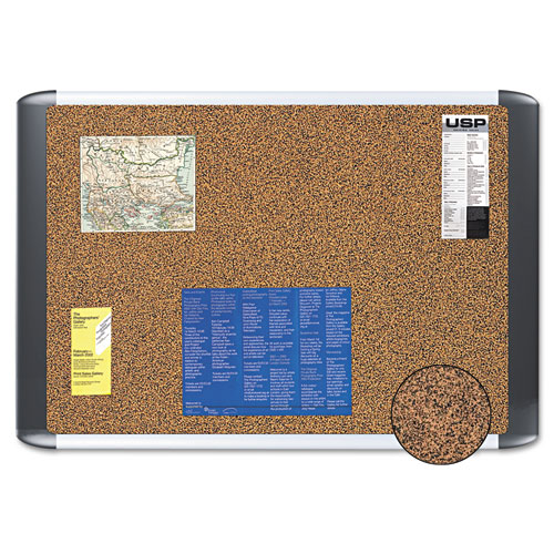 Tech Cork Board, 36x48, Silver/Black Frame. Picture 1