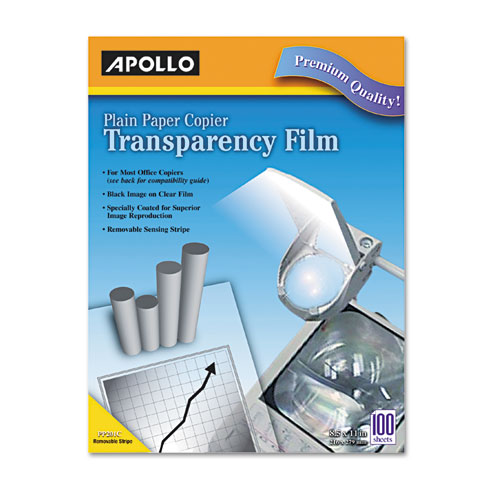 Plain Paper B/W Laser Transparency Film w/Handling Strip, Letter, Clear, 100/Box. Picture 1