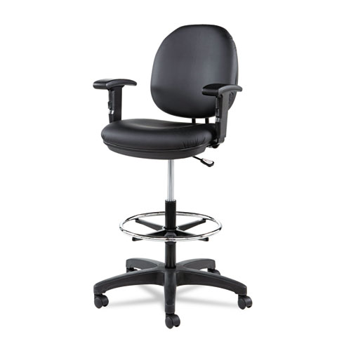 """Alera Interval Series Swivel Task Stool, 33.26"""" Seat Height, Supports up to 275 lbs, Black Seat/Black Back, Black Base. Picture 11"""