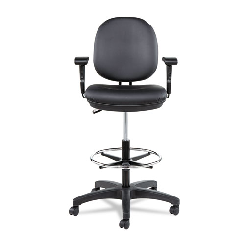 """Alera Interval Series Swivel Task Stool, 33.26"""" Seat Height, Supports up to 275 lbs, Black Seat/Black Back, Black Base. Picture 13"""