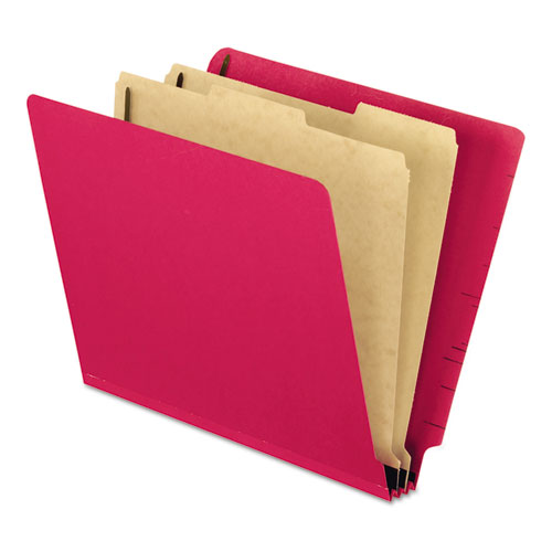 Colored Pressboard End Tab Classification Folders, 2 Dividers, Letter Size, Red, 10/Box. Picture 1