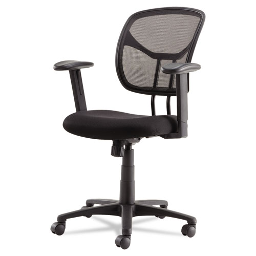 Swivel/Tilt Mesh Task Chair with Adjustable Arms, Supports up to 250 lbs., Black Seat/Black Back, Black Base. Picture 3