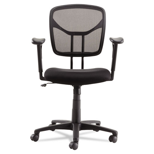 Swivel/Tilt Mesh Task Chair with Adjustable Arms, Supports up to 250 lbs., Black Seat/Black Back, Black Base. Picture 8