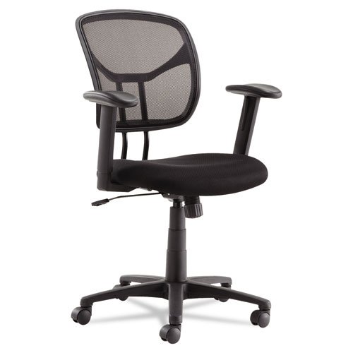 Swivel/Tilt Mesh Task Chair with Adjustable Arms, Supports up to 250 lbs., Black Seat/Black Back, Black Base. Picture 1