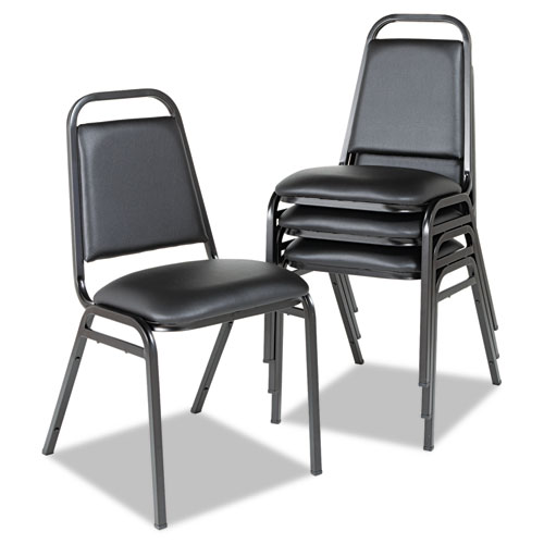 Padded Steel Stacking Chair, Black Seat/Black Back, Black Base, 4/Carton. Picture 2
