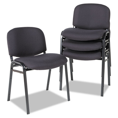 Alera Continental Series Stacking Chairs, Black Seat/Black Back, Black Base, 4/Carton. Picture 2