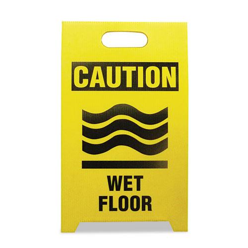 Economy Floor Sign, 12 x 14 x 20, Yellow/Black, 2/Pack. Picture 1