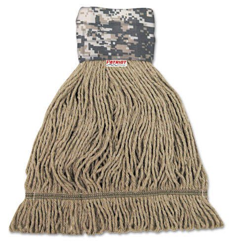 Patriot Looped End Wide Band Mop Head, Medium, Green/Brown, 12/Carton. Picture 1