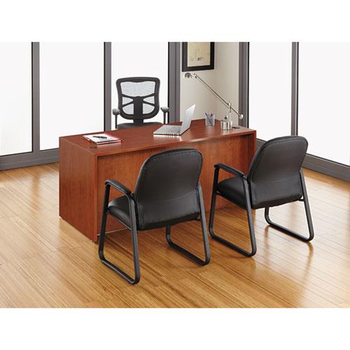 "Alera Valencia Series Straight Front Desk Shell, 65"" x 29.5"" x 29.63"", Medium Cherry. Picture 20"