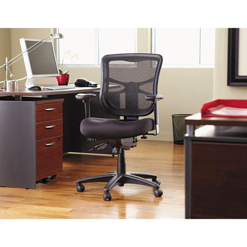 Alera Elusion Series Mesh Mid-Back Multifunction Chair, Supports up to 275 lbs, Black Seat/Black Back, Black Base. Picture 9