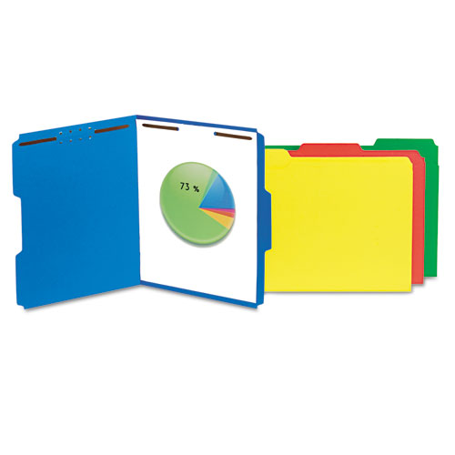 Deluxe Reinforced Top Tab Folders with Two Fasteners, 1/3-Cut Tabs, Letter Size, Blue, 50/Box. Picture 1