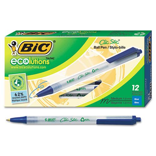 Ecolutions Clic Stic Ballpoint Pen, Retractable, Medium 1 mm, Blue Ink, Clear Barrel, Dozen. Picture 2