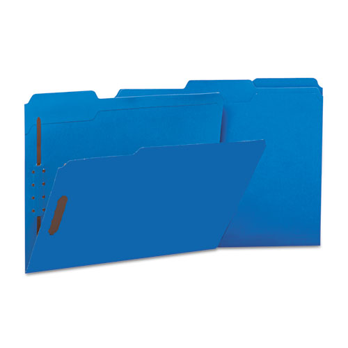 Deluxe Reinforced Top Tab Folders with Two Fasteners, 1/3-Cut Tabs, Letter Size, Blue, 50/Box. Picture 2