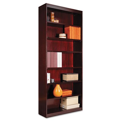 "Square Corner Wood Veneer Bookcase, Seven-Shelf, 35.63""w x 11.81""d x 83.86""h, Mahogany. Picture 1"
