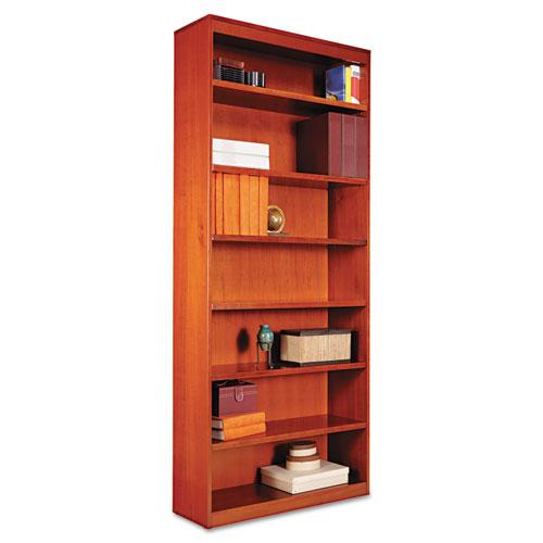 "Square Corner Wood Bookcase, Seven-Shelf, 35.63""w x 11.81""d x 83.86""h, Medium Cherry. Picture 1"