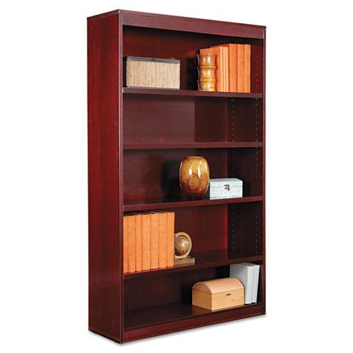 "Square Corner Wood Veneer Bookcase, Five-Shelf, 35.63""w x 11.81""d x 60""h, Mahogany. Picture 1"