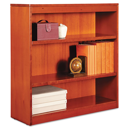 "Square Corner Wood Bookcase, Three-Shelf, 35.63""w x 11.81""d x 35.91""h, Medium Cherry. Picture 1"