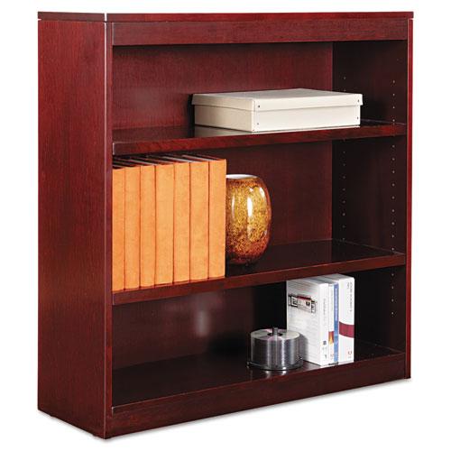 "Square Corner Wood Veneer Bookcase, Three-Shelf, 35.63""w x 11.81""d x 35.91""h, Mahogany. Picture 1"