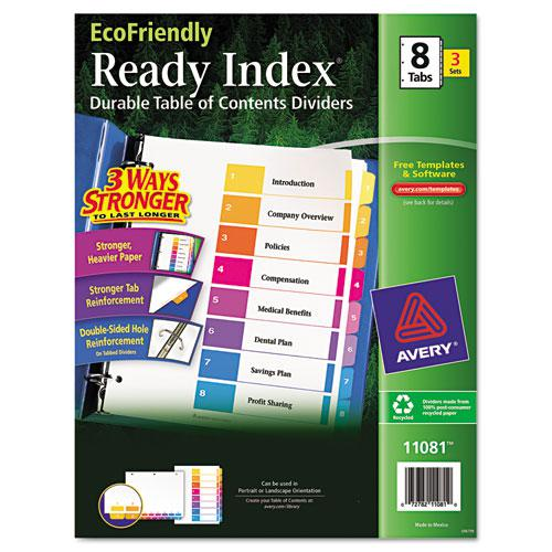 Customizable Table of Contents Ready Index Dividers with Multicolor Tabs, 8-Tab, 1 to 8, 11 x 8.5, White, 3 Sets. Picture 1