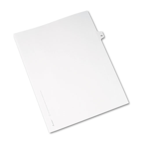 Preprinted Legal Exhibit Side Tab Index Dividers, Avery Style, 10-Tab, 19, 11 x 8.5, White, 25/Pack, (1019). Picture 2