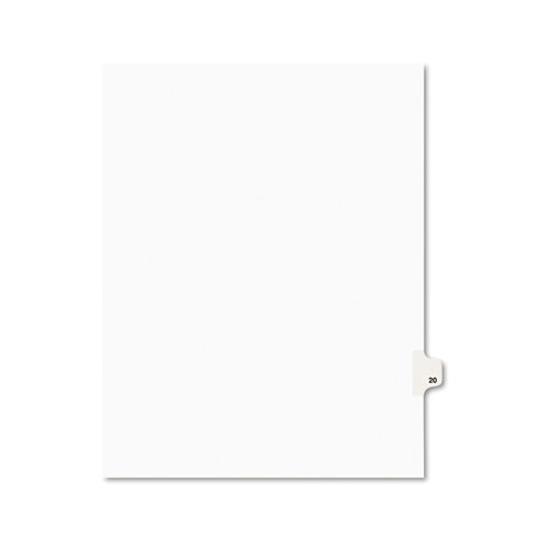 Preprinted Legal Exhibit Side Tab Index Dividers, Avery Style, 10-Tab, 20, 11 x 8.5, White, 25/Pack, (1020). Picture 1