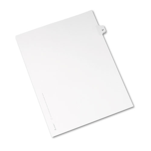 Preprinted Legal Exhibit Side Tab Index Dividers, Avery Style, 10-Tab, 21, 11 x 8.5, White, 25/Pack, (1021). Picture 2