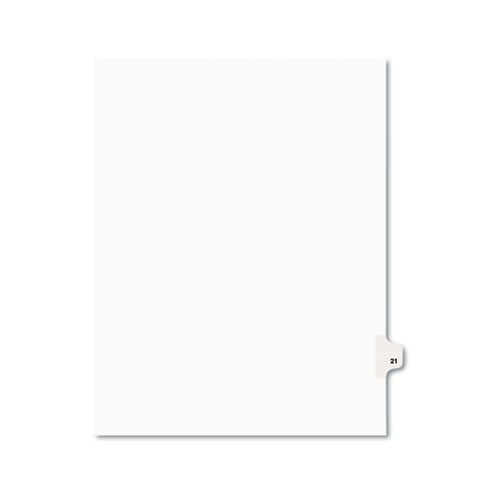 Preprinted Legal Exhibit Side Tab Index Dividers, Avery Style, 10-Tab, 21, 11 x 8.5, White, 25/Pack, (1021). Picture 1