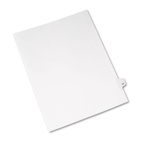 Preprinted Legal Exhibit Side Tab Index Dividers, Avery Style, 10-Tab, 22, 11 x 8.5, White, 25/Pack, (1022). Picture 2