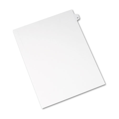 Preprinted Legal Exhibit Side Tab Index Dividers, Avery Style, 10-Tab, 27, 11 x 8.5, White, 25/Pack, (1027). Picture 2