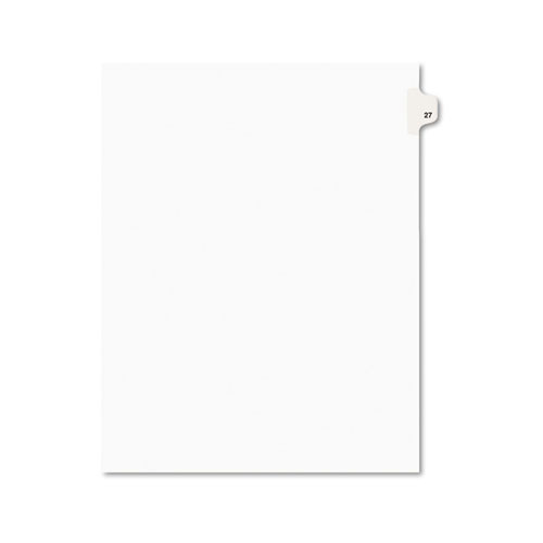 Preprinted Legal Exhibit Side Tab Index Dividers, Avery Style, 10-Tab, 27, 11 x 8.5, White, 25/Pack, (1027). Picture 1