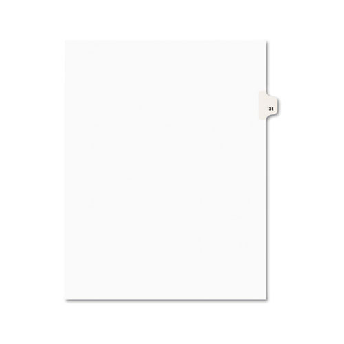 Preprinted Legal Exhibit Side Tab Index Dividers, Avery Style, 10-Tab, 31, 11 x 8.5, White, 25/Pack, (1031). Picture 1