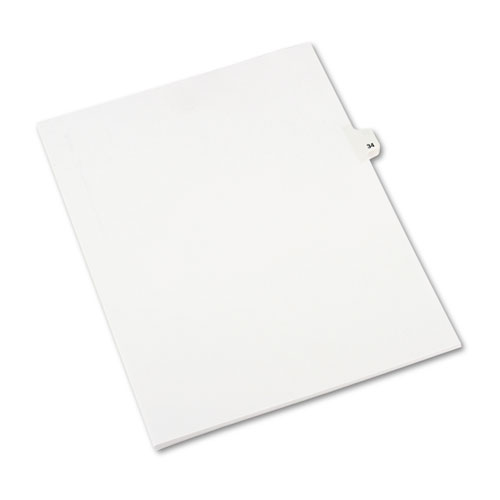 Preprinted Legal Exhibit Side Tab Index Dividers, Avery Style, 10-Tab, 34, 11 x 8.5, White, 25/Pack, (1034). Picture 2