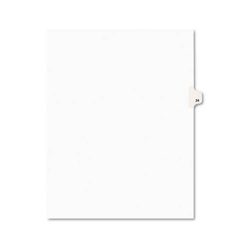 Preprinted Legal Exhibit Side Tab Index Dividers, Avery Style, 10-Tab, 34, 11 x 8.5, White, 25/Pack, (1034). Picture 1