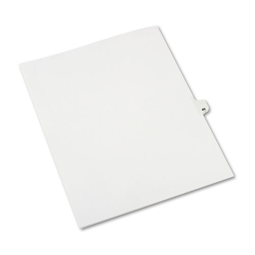 Preprinted Legal Exhibit Side Tab Index Dividers, Avery Style, 10-Tab, 40, 11 x 8.5, White, 25/Pack, (1040). Picture 1