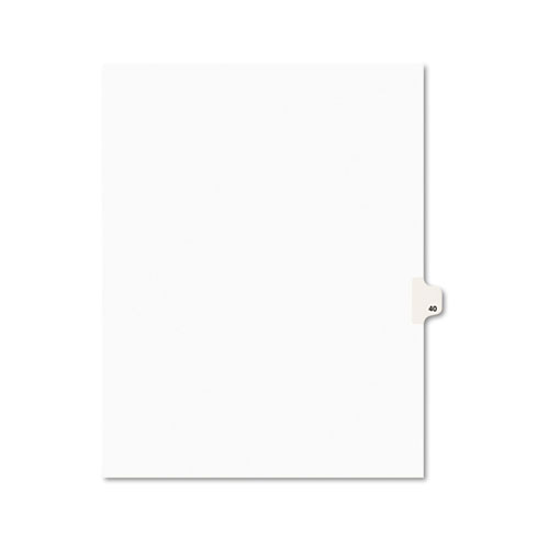 Preprinted Legal Exhibit Side Tab Index Dividers, Avery Style, 10-Tab, 40, 11 x 8.5, White, 25/Pack, (1040). Picture 2