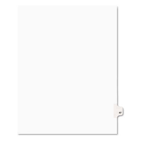 Preprinted Legal Exhibit Side Tab Index Dividers, Avery Style, 10-Tab, 47, 11 x 8.5, White, 25/Pack, (1047). Picture 1